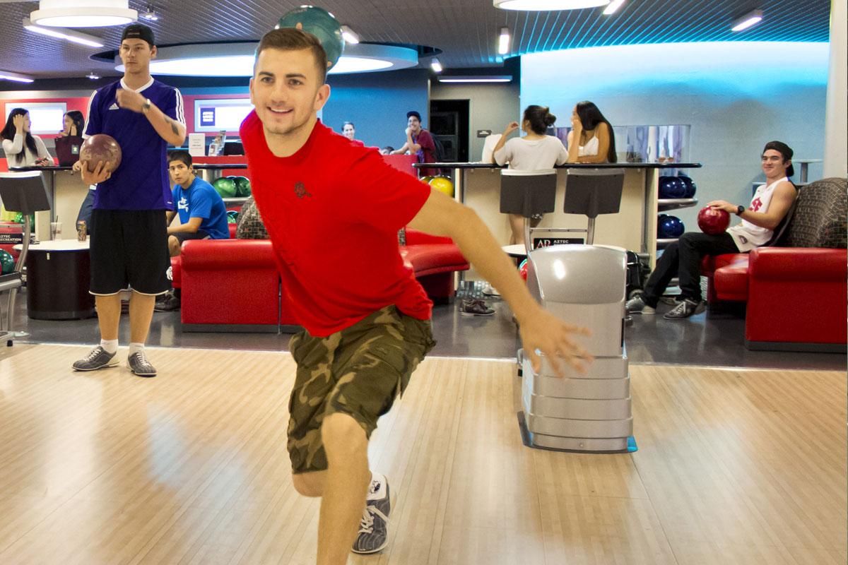 Man bowling at the Aztec Lanes